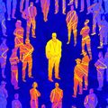 People graphic - Yellow man surrounded by blue people